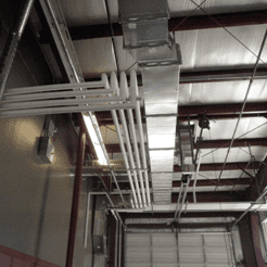 air ducts on an industrial ceiling