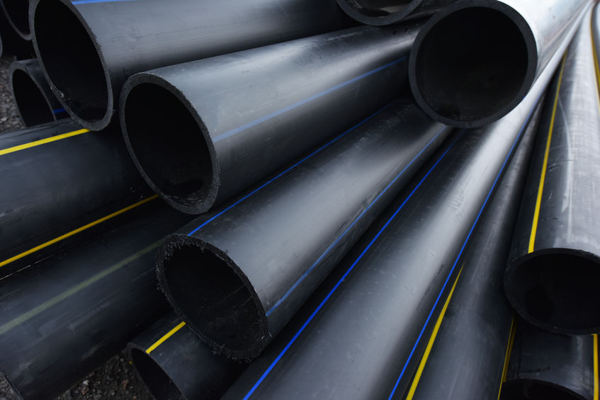 Large Black Plastic Pipes for Water Supply.